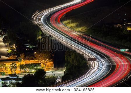Night freeway commuters on route 118 in suburban Simi Valley near Los Angeles in Ventura County, California.