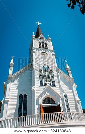 Mackinac Island Mi /usa - July 9th 2016: Sainte Annes Church On Mackinac Island