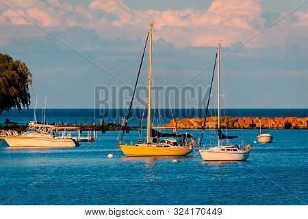 Mackinac Island Mi /usa - July 9th 2016: Sunset On The Boats At Mackinac Island Harbor