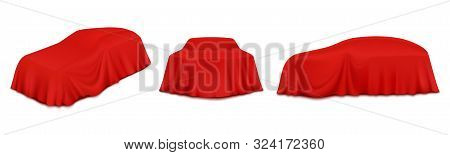 Red Car Reveal Curtain, Vector Isolated Illustration