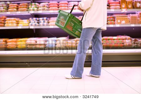 Woman Shopping In A Superstore