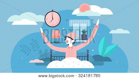 Waking Up Vector Illustration. Flat Tiny Morning Beginning Persons Concept. New Day Routine In Bedro