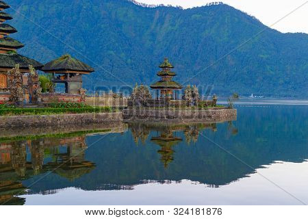 Ulun Danu Bratan Temple And Lake In Bali. It Is One Of The Most Popular Of Tourist Attraction. Indon