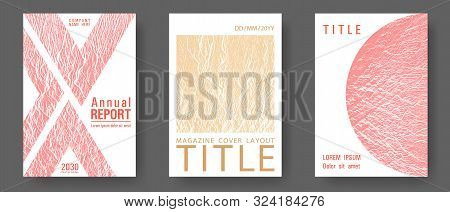 Magazine Cover Layouts Vector Design. Sand And Coral Colors Waves Textures. Presentation Slides Cove