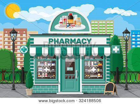 Facade Pharmacy Store With Signboard. Exterior Of Drugstore. Medicine Pills Capsules Bottles Vitamin