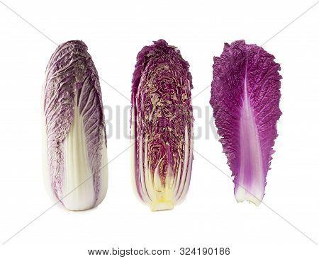 Purple Napa Cabbage. Red Napa, Chinese Cabbage On White. Purple Chinese Cabbage Isolated On White Ba