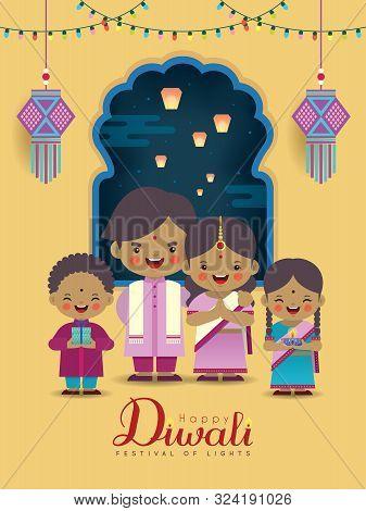 Diwali Or Deepavali Greeting Card. Cartoon Indian Family With Colorful Light Bulbs, Kandil (india La