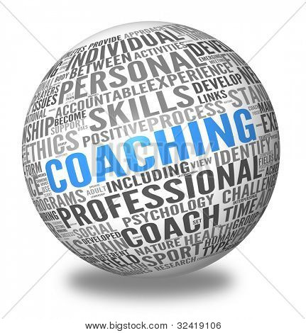 Coaching concept related words in sphere tag cloud isolated on white