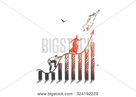 Career Ladder, Competition Concept Sketch. Business Aspirations, Job Promotion, Corporate Growth Met
