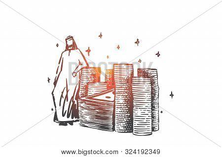 Muslim Rich Man, Billionaire Concept Sketch. Successful Arab Businessman Standing Near Golden Coins,