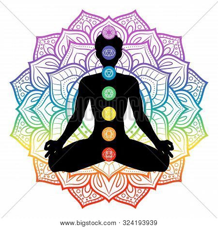 Seven Chakras On Meditating Yogi Man Silhouette, Vector Illustration
