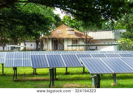 Solar Panel On A Dwelling House On The Roof, Alternative Energy Concept,clean Energy,green Energy.