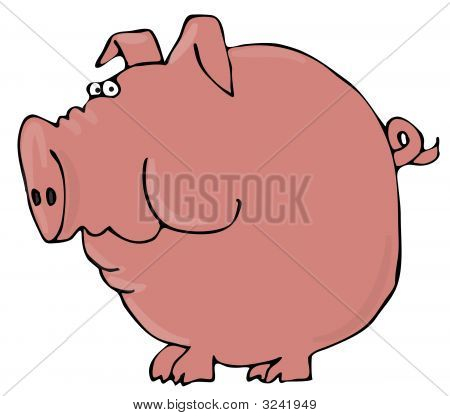 This illustration depicts a large pig with a worried expression. poster