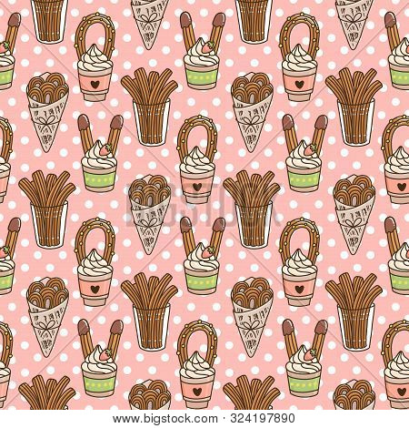 Seamless Pattern With Churros (or Churro) Is A Traditional Spanish Dessert, On A Pink Background. Ex