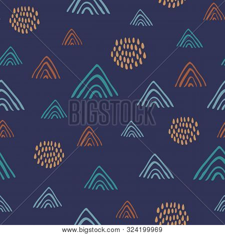Abstract Colorful Naive Doodle Seamless Vector Pattern On Navy Blue Background. Modern Trendy Art Ba