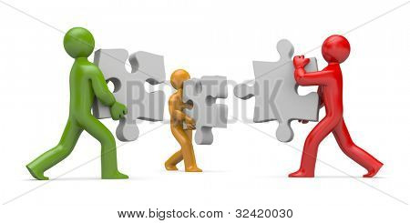 3d people connect puzzles. Partnership. Image contain clipping path
