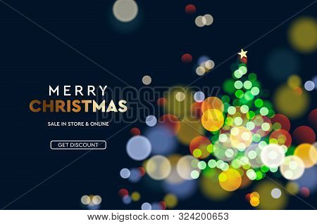 2020 New Year. Christmas Tree Sparkle Blur Bokeh Effect Horizontal Background . Dark Xmas Backdrop.