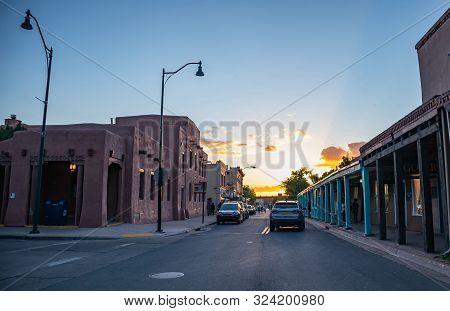 Santa Fe City Center At Dusk, New Mexico Usa.