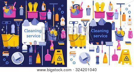 Cleaning Service Flat Illustration. Poster Template For House Cleaning Services With Various Cleanin