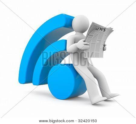 Persona leer noticias RSS. Imagen contiene el trazado de recorte