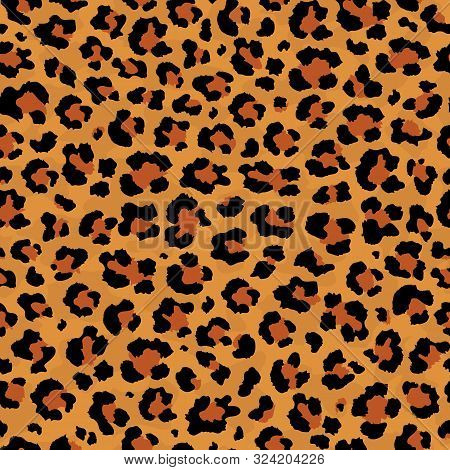 Vector Abstract Seamless Pattern Of Leopard Predatory Print. Modern Animal Fur Fashion Background. R