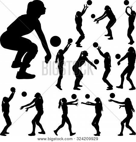 Volleyball Girl Player. Women Group Play Volleyball Silhouette