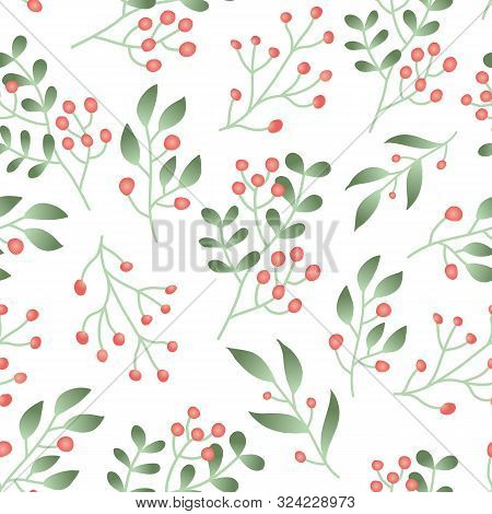 Seamless Pattern With Forest Berries, Green Plant Branches With Red Berry On White Background. Cranb