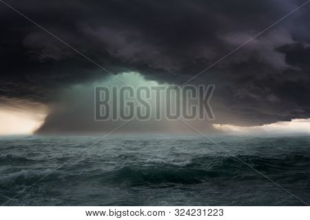Dramatic Seascape With Dangerous Storm And Dark Clouds.