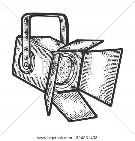 Spotlight Floodlight Theatre Projector Sketch Engraving Vector Illustration. Tee Shirt Apparel Print