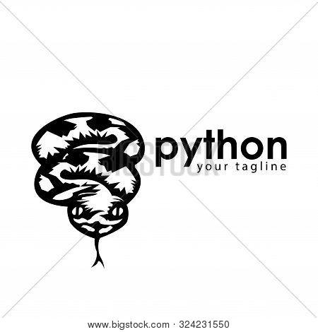 Black Python Logo Template. Black Python Monogram