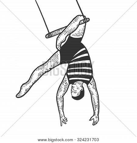 Circus Acrobat Hanging On Trapeze Performance Sketch Line Art Engraving Vector Illustration. Scratch