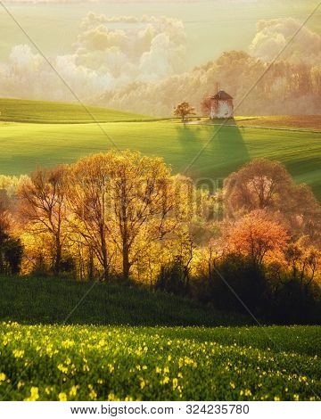 Rural landscape with an old mill. Beautiful view on Kunkovice village. Location place of South Moravia, Czech Republic. Scenic image of most popular tourist attraction. Discover the beauty of earth.