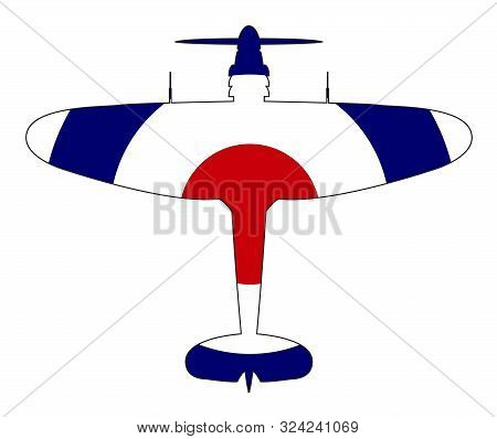A Typical Ww2 British Fighter Plane With A Red White And Blue Roundel Silhouette On A White Backgrou