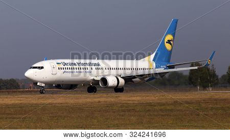 Borispol, Ukraine - September 10, 2019: Ur-psd Ukraine International Airlines Boeing 737-800 Aircraf