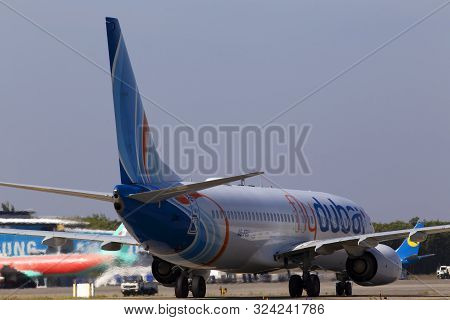 Borispol, Ukraine - September 10, 2019: A6-feu Flydubai Boeing 737-800 Aircraft Running To The Boris