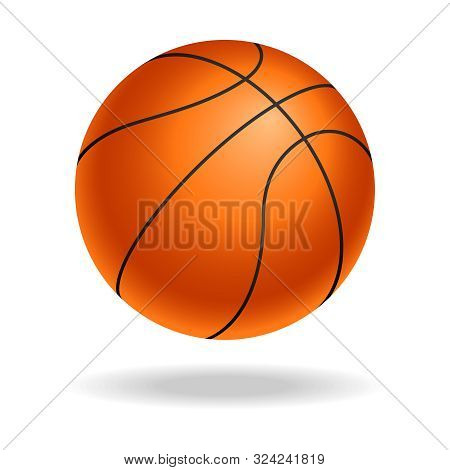 Basketball Ball Icon. Realistic Symbol Basketball Ball Isolated On White Background. Basketball Ball