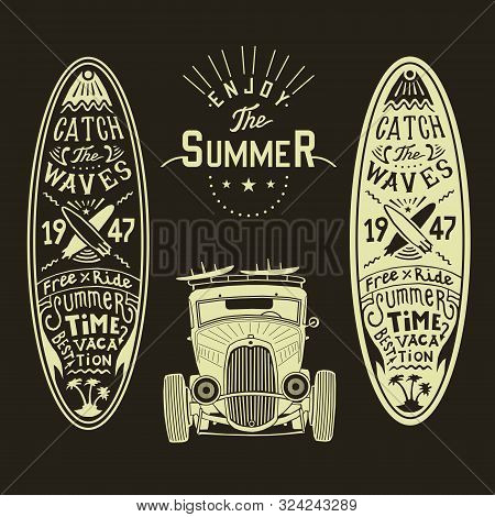 Vector Classic Hot Rod Front View With With Surf Boards Surf Car Poster Surfing Surf Shop Label Logo