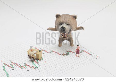 A Bear Market, Price Drop In Stock Concept, Bear Figure