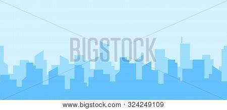 Seamless Panorama Of City Skyline. Blue Urban Landscape. Daytime Cityscape In Flat Style.vector Illu