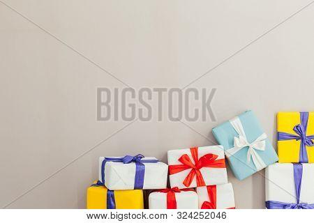 Birthday Presents On A Grey Background Holliday