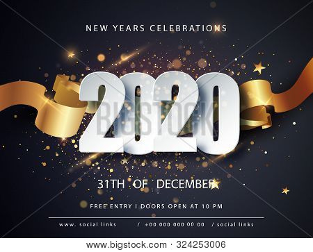 Happy New 2020 Year. Winter Holiday Greeting Card Design Template. Christmas And New Year Posters. H