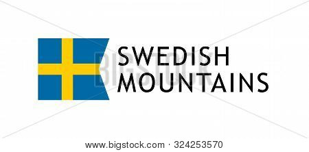 Logotype Template For Tours To Swedish Mountains, Vector Lovable Intelligible Illustration With Nati