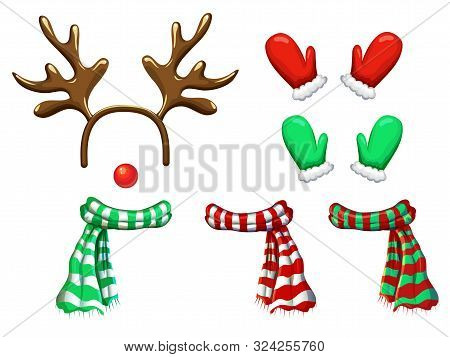 Vector Reindeer Face Template Isolated On White. Antlers Headband Red Nose Scarf And Mittens For Hol