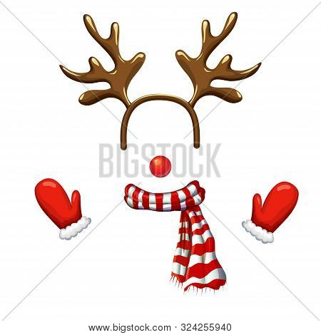 Funny Christmas Reindeer Mask With Antlers Headband, Red Nose, Striped Scarf And Mittens Isolated On