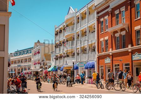 Mackinac Island Mi /usa - July 9th 2016: The Iconic Downtown Of Mackinac Island