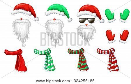 Vector Santas Hats, Beards And Mustaches Mask Collection Isolated On White. Xmas Holiday Funny Costu