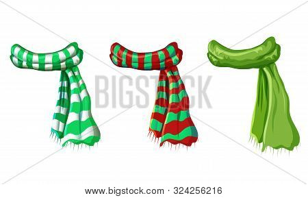 Vector Winter Green Scarf Collection Isolated On White Background. Illustration Of Red, Green White