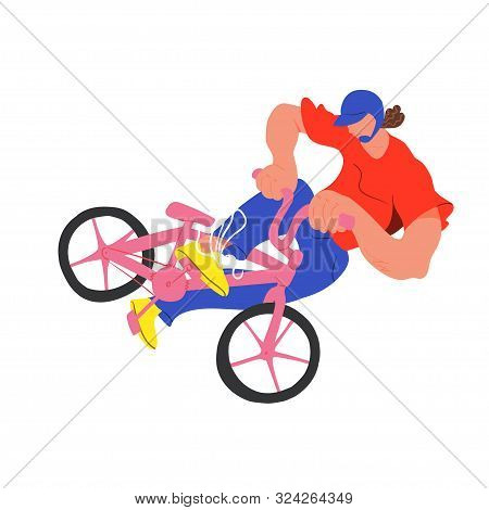 Guy On Bmx Make Trick, Disproportionate Bright Flat Vector Illustration, Isolated Overexaggerated Bi