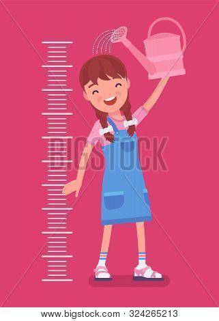 Girl At Child Height Growth Chart With Watering Can. Happy Schoolgirl Pouring Water Over Her Head To