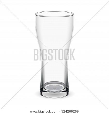 Beer Glass. Isolated Goblet Mockup. Transparent Transparent Mug Illustration For Stout, Lager Alcoho